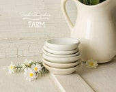 6 beurre antique Pats - White Ironstone - décor de salle à manger cuisine de ferme Style - campagne Shabby Chic - Collection instantanée