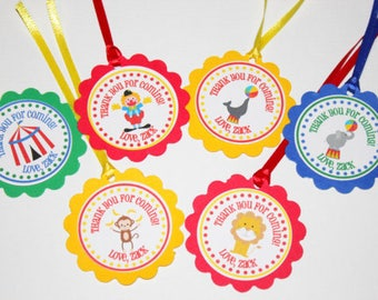 Circus Cupcake Toppers, Circus Favor Tags, Circus Birthday Party Cupcake Toppers, Circus Birthday Party Favor Tags