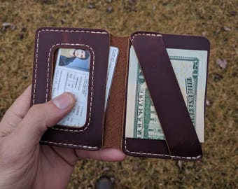 Minimalist ID Wallet, Mens Leather Wallet, Leather Bifold Wallet, Minimalist Bifold Wallet, Front Pocket Wallet, ID Window, Card Wallet, USA