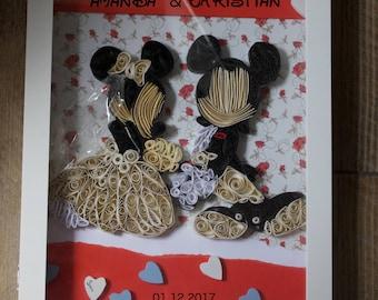 Wedding Guest Books Alternatives/ Disney Wedding / Mickey and Minnie inspired Wedding Guest Book / Disney Quilling Display Box / Mr & Mrs