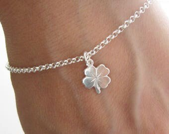 Lucky 4 leaf clover charm bracelet in Silver 925/1000