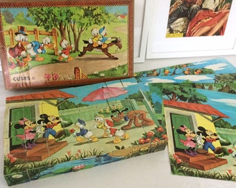Cubes 40 Walt Disney productions. GARNIER CORNIL game. VIntage 1970/1980