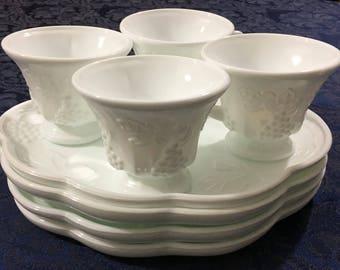 Vintage Indiana Glass Harvest White Milk Glass Snack Set Mid Century Grape Pattern