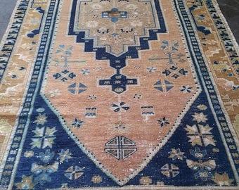 Oushak Rug, Turkish  Vintage Rug,Area Rug, Original  Copper red floor carpet, Pile Pattern Carpet,Handmade Carpet,Home living,120x220cm,Rugs