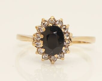 1988 Vintage 9Ct Gold Sapphire & Cubic Zircon's Cluster Ring, Size O 1/2, 2.3g
