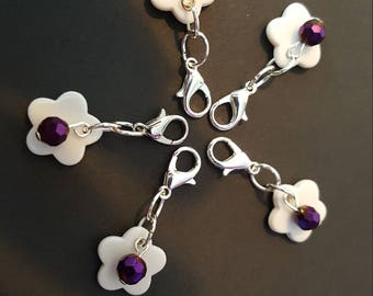 Sparkle Flower Stitch Markers set of 5