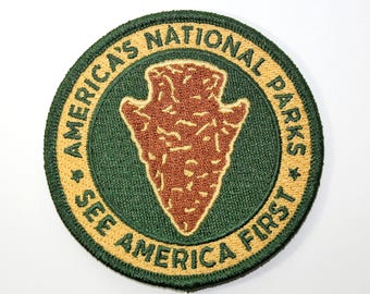 Official NPS Souvenir Patch - America's National Parks - See America First Arrowhead Scrapbooking FREE SHIPPING