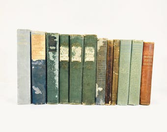 Lot of 12 Vintage Antique Books Distressed Greens Blue Brown Library Decor Airbnb Cabin Decor Old Books Staging Pr