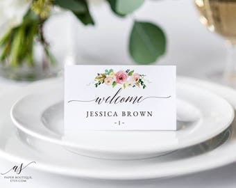 Pink Floral Wedding Place Cards Editable Placecards Template Boho Chic