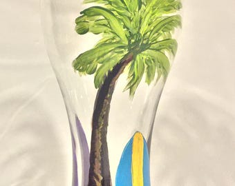 Beach Beer Glass, Hand Painted Pilsner Beer Glass, Drinkware, Barware, Home Decor, Summer Entertaining, Gift