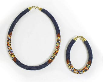 Navy Beaded Necklace Set