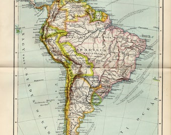 Antique political map of South America from 1893