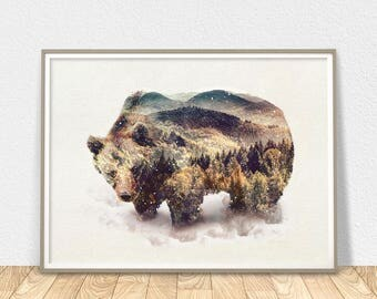 Bear Art Print - Large Wall Art, Bear Wall Decor, Bear Printable, Grizzly Bear Poster, Bear Wall Art, Animal Print, Bear Home Decor