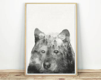 Wolf Wall Art - Woodland Animal Art, Wolf Decor, Wildlife Poster, Wolf Forest Print, Large Wall Art, Wolf Art Poster, Black And White Art