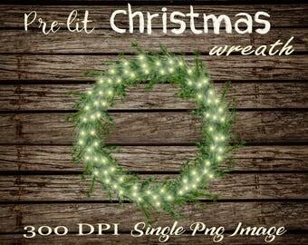 Christmas wreath clipart, Christmas wreath digital, Christmas clipart, Christmas digital, pre-lit Christmas wreath, christmas light clipart
