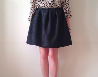 Black pleated skirt, high waist skirt, round skirt, a line skirt, circle skirt, black miniskirt, short skirt, wide skirt