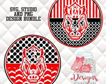 Arkansas Razorback SVG, Silhouette studio bundle - 2 design download