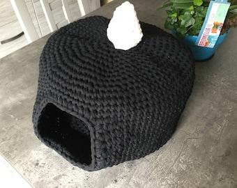 Crocheted cat igloo