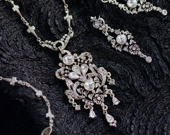 Marie Antoinette Jewelry, Wedding Necklace, Bridal Necklace, Wedding Jewelry, Silver Necklace, Silver Jewelry, Crystal Necklace N648