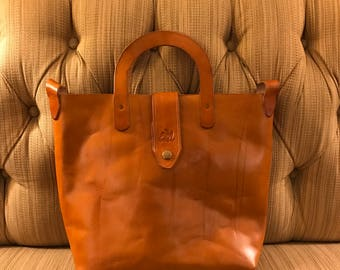 Genuine Leather Tote Handbag - Saddle Tan - Handmade Leather Bag