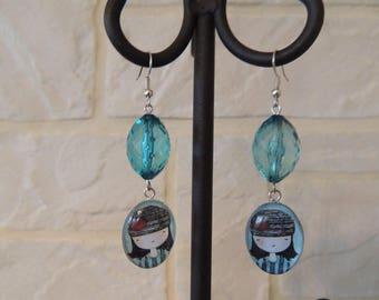 Pair of earrings blue girl