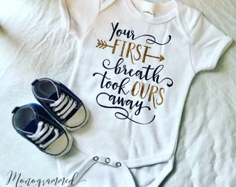 Your First Breath Baby Onesie, Bodysuit - Short Sleeve