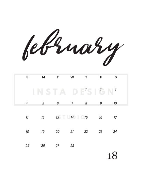 February 2018 printable pregnancy baby announcement calendar
