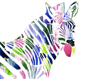 Watercolor Zebra Print