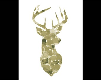 Watercolor Stag Bust Print