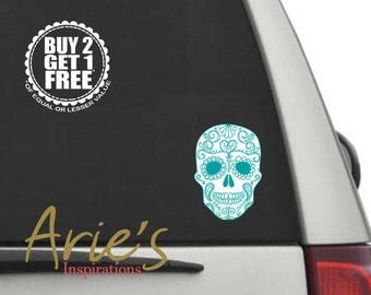 Sugar Skulls, Sugar Skull Decal, Sugar Skull Car Decal, Car Decals, Skull Decal, Sugar Skull Sticker, Cute Skull