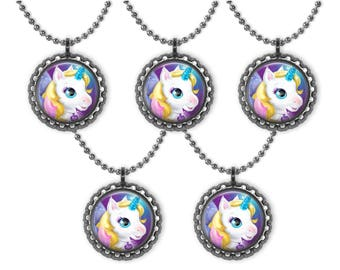5 STARLILY UNICORN 3D Bottle Cap Necklace Birthday Party Favors