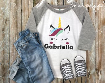 Personalized Unicorn Raglan-Infant Toddlers