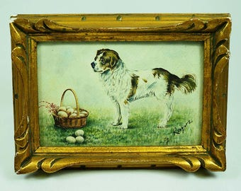 Antique Miniature Watercolor of a Dog-Signed