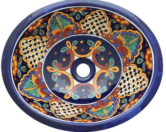 17u201d X 14u201d Talavera Mexican Sink Hand Painted Drop In Folk Art Bathroom