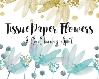 Flowers clipart, floral borders clipart, blog header, border clipart, invitation border, web design, watercolor borders, digital clipart