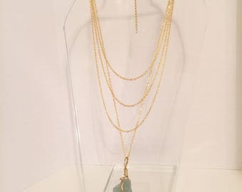 Layered Chain and Sage Stone