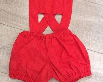boys bloomer suspender shorts, red shorts, birthday outfit, boys shorts, boys clothing, boys clothes, baby boys, boys suspender suit