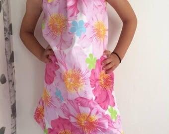 girls easter dress, girls floral dress, girls handmade dress, girls collar dress, aline dress, bright floral dress, girls summer dresses