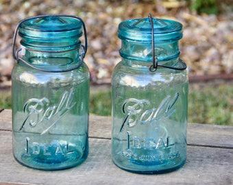 Blue Mason - Vintage Blue Ball Mason - Vintage Mason Jar - Blue Mason Jar Glass Lid - Glass Lid Mason Jar - Antique Blue Mason - Turquoise