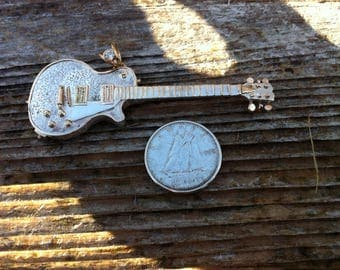 Silver and gold Guitar Pendant