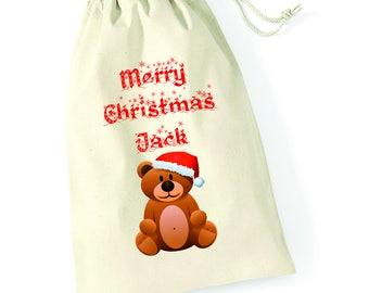 Personalised Teddy Bear Merry Christmas Santa Sack Reindeer Xmas Present Stocking Drawstring Custom Printed Keepsake Tumblr Pintrest