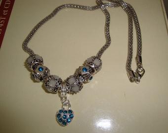 heart blue rhinestone snake chain necklace