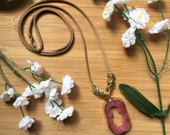 Agate Slice Necklace, Agate Necklace, Gemstone Necklace
