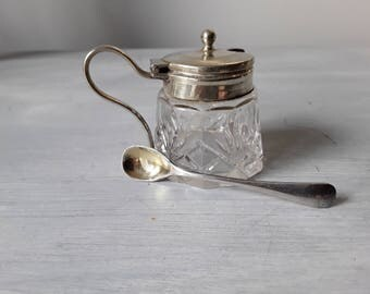 Delightful Crystal and EPNS Silver Mustard Pot