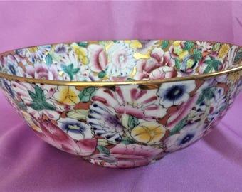 """Vintage Japan Fine China Porcelain Bowl Rose Flowers Gold Gilt 8"""""""