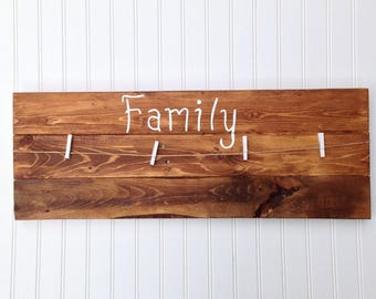 Family Picture Display Wood Sign/Holiday Gift/Clothespin Photo Display Board/Reclaimed Wood Hand Made/Rustic/Unique Picture Frame/Custom