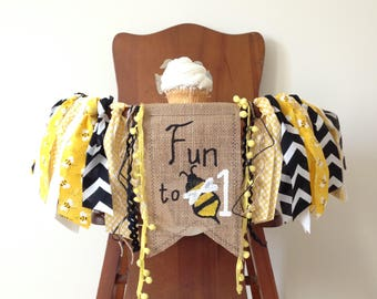 Bumble Bee First Birthday High Chair Banner/Fun to Bee One/Honey Bee/Bee Day Theme/Cake Smash/Photo Shoot Prop/Party Decor/Summer Theme