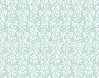 Riley Blake Rustic Elegance Mint Damask 100 % cotton quilting fabric C 5942.  By the yard cut to order
