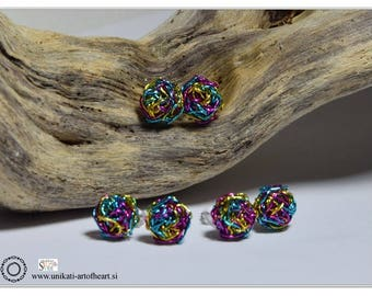Crochet Wire Earrings / Multicolor Earrings / Stud Earrings / Small Earrings / Lightweight Earrings / Gift for Women / Stud Wire Earrings
