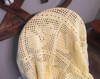 Filet Crochet Baby Blanket